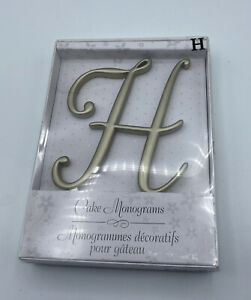 "Lillian Rose Monogram Wedding Anniversary Cake Topper Letter H Gold 5"" New"