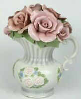 Anna Rosa Pink Porcelain Roses In Pitcher With Music Box Company &Tune Edelweiss