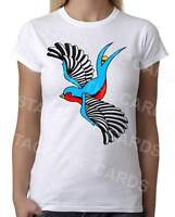 Rockabilly Swallow - Womens White T-Shirt - Geek Retro Fun Kitsch Cute