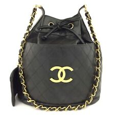CHANEL Quilted Matelasse Leather Chain Drawstring Shoulder Bag w/Pouch /40329