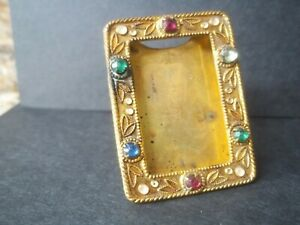 VINTAGE CZECHSLOVAKIAN METAL JEWELED SMALL PICTURE FRAME