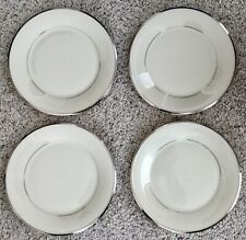 """4 Lenox Solitaire DINNER Plates IVORY/PLATINUM TRIM China 10 3/4"""" Barely Used*"""