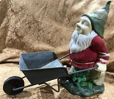"Rare~ Vtg 14"" Ceramic Garden Gnome w Galv. Metal Wheelbarrow Wood Wheels"