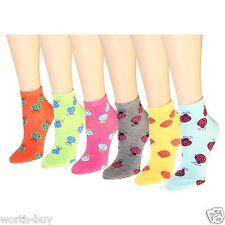 New 12 Pairs 1 Dozen Womens Ankle Socks Multi Colors Size 9-11 Ladybird Lady Bug