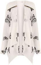 Womens Butterfly Chiffon Zip Long Sheer Sleeve Cardigan Blazer Top Plus Size