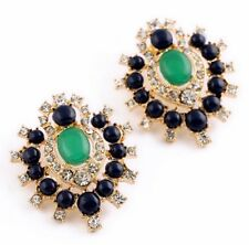 HAUTE COUTURE GREEN BLUE GRIPOIX CABOCHON Vtg Rhinestone Maltese Cross Earrings