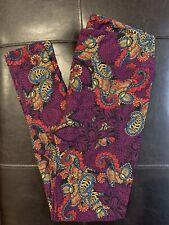 Lularoe OS Leggings Purple Floral Paisley UNICORN