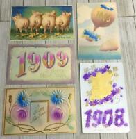 Vintage Lot Of 5 Happy New Year Postcards Post Cards