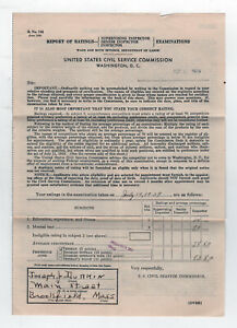 1939 UNITED STATES CIVIL SERVICE COMMISSION Document EMPLOYMENT Exam Rating TEST