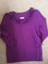 M&S Per Una  3/4 sleeve mauve thin knit top boat neck pleating detail 10