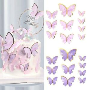 10Pcs DIY Cake Decorations Happy Birthday Theme Butterfly Paper Cake Topper