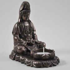 Meditation Buddha Tea Light Candle Holder Cold Cast Bronze Ornament NEW 34016