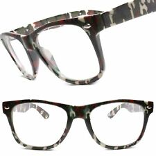 Horn Rimmed 80s Camo Camouflage Temple  Rectangle Clear Lens Eye Glasses Frames