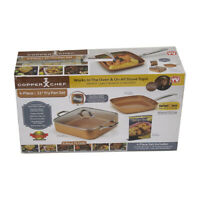 "Copper Chef 4 pc Square Pan Set - 11"" Frying Pan - 11"" Chicken Fryer"