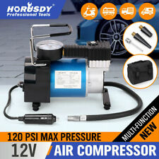 12v Portable Air Compressor Car Tyre Deflator Inflator 4x4 With Fittings & Bag