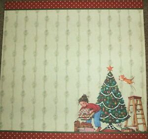 CHRISTMAS Tree Decorating Holiday  6 x 6 Premade Scrapbook Page Add Photo
