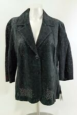 Terry Lewis Classic Womens Leather Jacket Black Confetti Perforations Sz Lg NWT