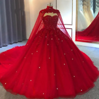 Red Lace Wedding Dresses Plus Size Cape Crystal Ball Gown Bride Wedding Gowns
