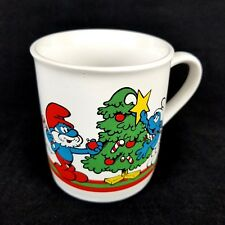 SMURFS Vintage 1981 Merry Christmas Coffee Mug Cup Holiday Collectible Souvenir