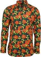 Run & Fly Mens Black Floral Poppy Print Long Sleeved Shirt 60s 70s Psychedelic