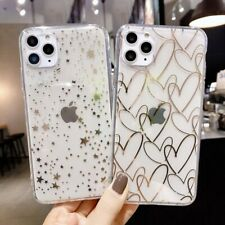 Electroplated Phone Case Love Heart Stars Clear Silicone Back Cover For iPhone