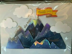 Papyrus Thank you card- You're the tops!  YOU ROCK!  3D mountains, clouds, flag