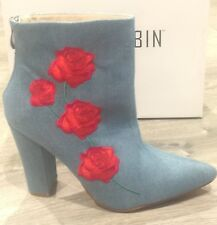 New Red Rose Denim Jeans Boots Booties Shoes Cape Robbin Size 10 *Beautiful* Box