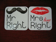 PAIR OF COASTERS - MR RIGHT & MRS 'ALWAYS' RIGHT - NEW