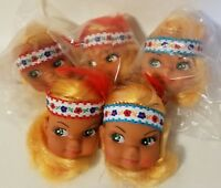 "Lot of 5 Vintage Craft 2"" Vinyl Doll Heads Blonde Indian Native American Girl"