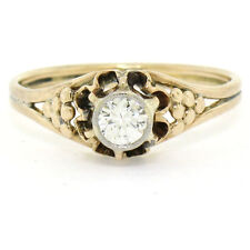 Antique 14k Two Tone Gold .30ct Round Diamond Bezel Solitaire Engagement Ring