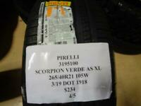 1 NEW PIRELLI SCORPION VERDE A/S XL 265 40 21 105W TIRES W LABEL 3195100 Q9