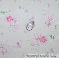 BonEful FABRIC Cotton Quilt Gray Purple Pink Flower Victorian Shabby Chic SCRAP