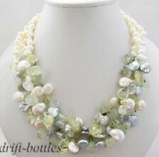 3row 18''12mm gray white coin freshwater pearl Prehnite necklace