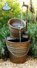 Tap Bucket Indoor Outdoor Patio Tiered Garden Water Feature with LED Lights