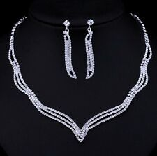 Wedding Bridal Crystal Simple Style Elegant Necklace Earring Jewellery set