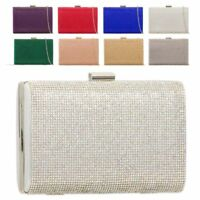 Ladies Diamante Box Clutch Bag Crystal Metallic Evening Bag Handbag K2099