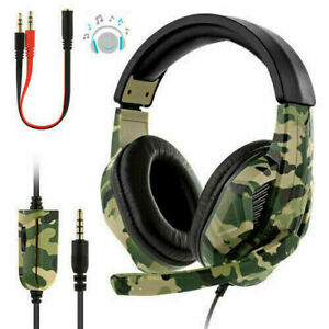 Gaming Headset For PC Xbox One PS4 Nintendo Switch 3.5mm Headphones With Mic UK