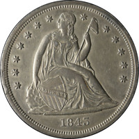 1843 Seated Liberty Dollar Choice AU Details Nice Eye Appeal Nice Luster