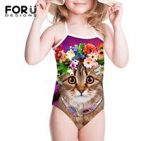 Kids Baby Swimwear Floral 3D Cat Swimming Costume Girls Bikini Age 2 3 4 5 6 7 8