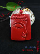 Chinese Natural Red Organic Cinnabar Bodhisattva Necklace Pendant Lucky Amulet