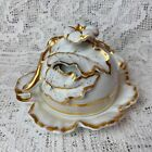 Antique European Hand Painted Gilt Leaves Liddied Butter Dish Or Jam Pot Stamps