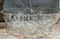 """Vintage 10.75"""" Large Heavy Crystal Cut Etched Round Bowl"""