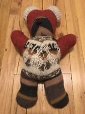 The Goats Coat Handmade Bear Upcycled Material Red/Brown Folk art Wool Cotton
