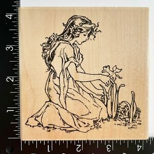 Stampendous Daffodil Girl W071 Wood Mounted Rubber Stamp Flower Garden