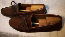 Minnetonka 698 Moccasins sz 10 Brown Leather Lightweight Driving Shoes Nub Soles