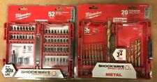 Milwaukee Shockwave Drill Bits- 2 set lot- drill and impact sets
