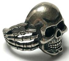 Vintage Ring Sz8.5 w/ Skull Skeleton Hands Biker Ring Big 925 Sterling Silver
