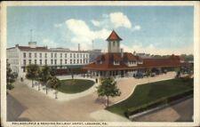 Lebanon PA P&R Railway Depot Station c1920 Postcard rpx