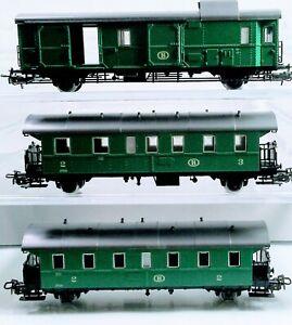 Marklin HO 4113 + 4114 + 4115 Set of 3 (SNCB) Belgium Passenger Cars and Luggage