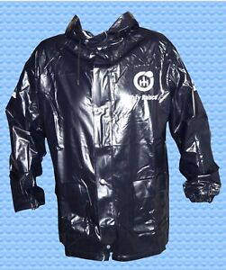 UNISEX praktische schwarze PVC Regenjacke schwarz  Gr. XL